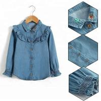 Best 100% Cotton Children Slim Fit Long Ruffles Sleeve Denim Tops With Wood Button Closure wholesale