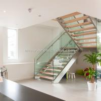 Best 304 s.s Double Steel Stringer Straight Glass Railing Staircase with Wooden Tread wholesale