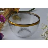 Best 7oz High White Glass Candle Bowl Tealight Holder with Golden Rim wholesale