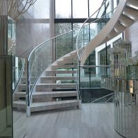 Cheap Modern Design Interior Curved Staircase with Tempered Glass Railing for sale