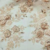 Best 3D Flower Embroidered Lace Fabric , Sequin Lace Mesh Fabrics For Fashion Dresses wholesale