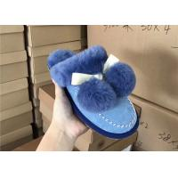 Best Luxurious Dyed Women's Merino Fluffy Sheep Wool Slippers , Ladies Sheepskin Slippers wholesale