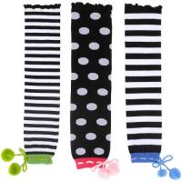 Best Sweat-absorbent Customized Black + White Knitted Leg Warmers For Children / Girls With Stripes / Dots wholesale