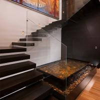 Best Frameless Glass Railing Floating Straight Exterior Stair Design wholesale