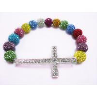 Best Colorful Shamballa Sideways Cross Bracelet With Clay Pave Beads For Women wholesale