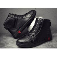 Best Fashionable Mens Skateboard Shoes , Cow Leather High Top Skate Shoes Flat Heel wholesale