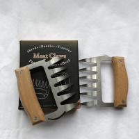 Best Wood Handle Stainless SteeStainless Steel Meat Forks with Wooden Handle Durable Pulled Pork Claws wholesale