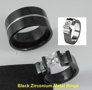 Best Tagor Jewelry Made Customize Shiny Brushed Wedding Engagement Black Zirconium Rings wholesale