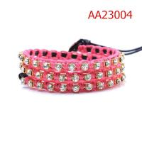 Cheap LB0031 Luxury Pink Leather Wrap Bracelets with Crystal for sale