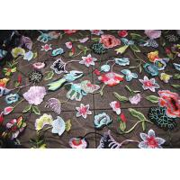 Best Multi Colored Lace Fabric With Embroidered Florals , Heavy Embroidered Lace Cloth wholesale