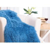 Buy cheap 48 X 72 Inches Large Authentic Mongolian Lamb Fur Blanket , Home Style Lambskin Rug from wholesalers