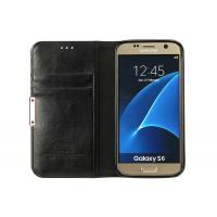 Galaxy S6 Leather Phone Cases Black Color With Stand / Card Slot CE Approved