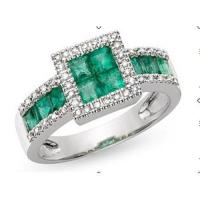 Best Ring(10K White Gold Ring Emerald and Diamond) wholesale