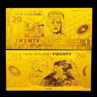 Best Crafts Gold Plated Banknotes Pure Gold Foil Plated New Zealand 20 Dollars wholesale