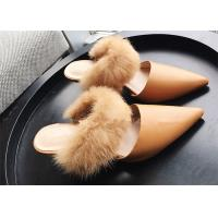 Best Khaki Dressy Low Heel Mules , High End Fur Strap Suede Slip On Mule Heels wholesale