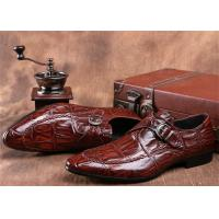 Best Mens Single Monk Strap Shoes , Moc Toe Dress Shoes With Embossed Crocodile Pattern wholesale