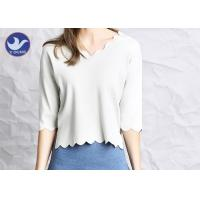 Cheap Wavy Edge Womens Knit Pullover Sweater Half Sleeves Short Body Summer Knitwear for sale