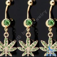 Best Handcrafted Emerald Rhinestone Gem Dangle Belly Ring Piercing With Steel wholesale