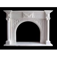 Best Flower Sculptured Natural Stone Fireplaces Mantel China Pure Whtie Marble Material wholesale
