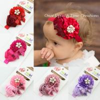 Best girl flower red with alloy button headband new born baby hairband kids hair accessories wholesale
