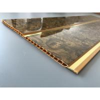 Cheap 7mm Thickness Ceiling PVC Panels With Two Golden Lines Non Flammable Features  for sale