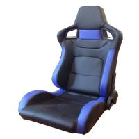 Best PVC Adjustable Blue And Black Racing Seats / Sports Car Seat with single slider wholesale