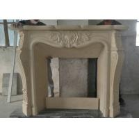 Best Sunny Beige Marble Fireplace Surround , Carved Indoor Marble Around Fireplace wholesale