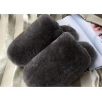Cheap Dyed Colors Indoor Womens Fur Lined Slippers Soft Sole Moisture Absorption for sale