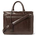 Best Luxury Crocodile Embossed Mens Leather Briefcase Bag , Zipper Pocket Inside / Laptop Pocket wholesale