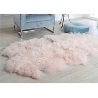 Cheap Pink Curly Hair Extra Large Sheepskin Rug Comfortable Anti Shrink For Home Floor for sale