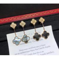 Best 2 Motifs 18K Rose Gold Magic Alhambra Earrings With Grey Mother Of Pearl wholesale