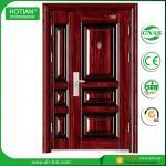 Best House Entry Main Front Door Metal Flush Steel Security Door Design with Galvanized Handle wholesale