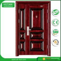 Cheap House Entry Main Front Door Metal Flush Steel Security Door Design with Galvanized Handle for sale