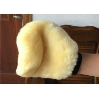 Best Genuine Short Soft Merino Wool Wash Mitt Beige Color For Reducing Scratches wholesale
