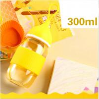 Best Free BPA Newborn Baby Glass Water Bottle For Girls With Silicone Handle wholesale