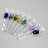 Best 14cm Length Colorful Hookahs Straight Oil Burner Pips , Tobacco Pipe Glass Material wholesale