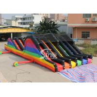 Best 6 Lane Color Run Adults Inflatable Obstacle Course With 2 Hill Slides For Outdoor 5K Sports Activities wholesale