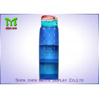 Best Blue Cosmetic Pos Cardboard Hook Display Stand With 3 Shelves , Cmyk Offset Printing wholesale
