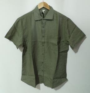 China Summer 100 Percent Hemp Short Sleeve Shirts Button Placket Machine Wash on sale