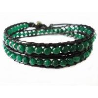Best Customized Handmade 36cm Green Beaded Leather Strap Bracelet Double Layer wholesale