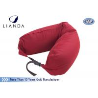 Best Promotional Gift Red Memory Foam Pillows For Car / Train , Microbeads Material wholesale