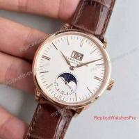 Best Swiss A. Lange & Sohne Watch 384 Moonphase Rose Gold White Face Leather Watch wholesale