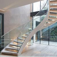 Best Modern Design Interior curved staircase with tempered glass railing wholesale