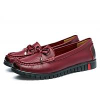 Best Embossed Top Ladies Loafer Slip On Shoes Grain Leather With Red Bowknot wholesale