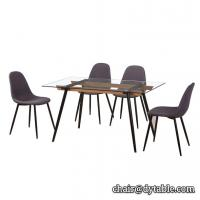 Best dining furniture rectangle transparent tempered glass top metal base glass dining table and chairs wholesale