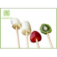 Best 100% Natural Wood Flat Round Fruit Skewer Sticks For Kids Party wholesale