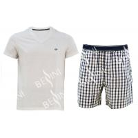 Best Cotton Jersey Men'S V Neck Pajamas / Mens T Shirt And Woven Shorts Pyjamas With Side Pockets wholesale