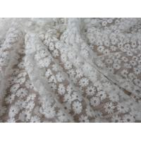 Best Daisy Small Flower Nylon Mesh Fabric By The Yard , Off White Lace Fabric For Dresses wholesale
