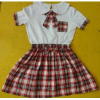 Best 100% Cotton Checked Girls School Uniform Dresses , Summer Kids Uniform Dress wholesale