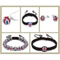 Best Adjustable British Flag Union Jack Crystal Shamballa Beaded Bracelets OEM wholesale